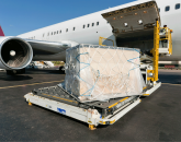 Cargo prepared to load on an aircraft.